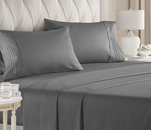 King Size Sheet Set - 4 Piece - Hotel Luxury Bed Sheets - Extra Soft - Deep Pockets - Easy Fit - Breathable & Cooling Sheets - Wrinkle Free - Comfy – Dark Grey Bed Sheets - Kings Sheets – 4 PC