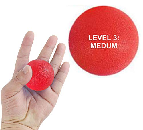 Lumino Cielo Stress Relief Therapy Exercise Squeeze Balls for Fingers, Wrist Exercise, Hand strengthener and Arthritis Grip Exerciser … (Level 3: Red)