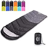 Flantree Sleeping Bag 4 Seasons Adults & Kids for Camping Hiking Trips Warm Cool Weather,Lightweight and Waterproof with Compression Bag,Indoors Outdoors Activities