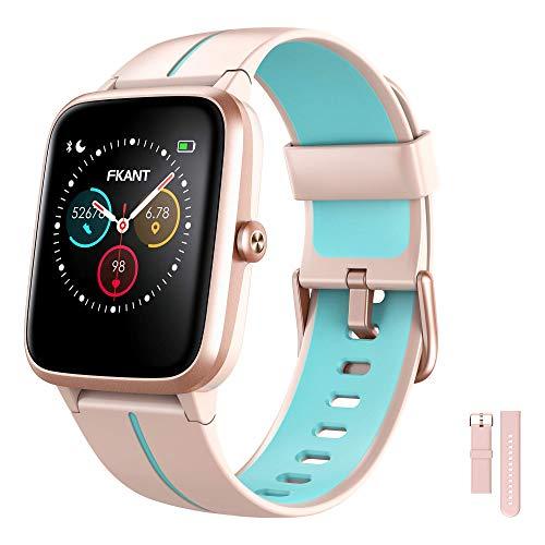 FKANT Smartwatch Mujer, Reloj Inteligente Hombre Fitness GPS con Competidor Simulador, 5ATM Reloj con 24H Monitor de Ritmo Cardíaco y Sueño, Smartwatch Despertador Cronómetro y Pronóstico del Tiempo