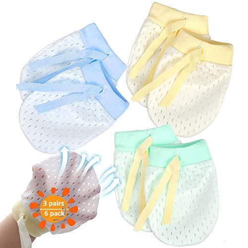 NOCHME Guantini Neonato Antigraffio Cotone Per Baby Ragazza Maschi 0-3-6-12 Mesi 3 Paia Guanti Per...
