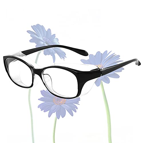 Anti Fog Safety Glasses Goggles Blue Light Blocking Clear Lens with Side Shields for Women Men Eye Protection Black