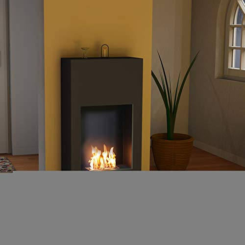 Bergamo Simplico - Bio-Ethanol Fireplace Stove - Standmontage - Sicherheitsbrennkammer Aluminium Powder Coated Black