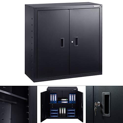 Arebos Armadio portadocumenti da ufficio | 90 x 40 x 90 cm | 2 ante | ripiano regolabile in altezza | con serratura a cilindro