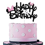 Black Glitter Minnie Inspired Happy Birthday Cake Topper with Pink Bows and White Gloves Girls Birthday Party Decorations Supplies(Double-sided)