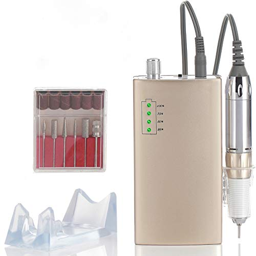 Miss Sweet Portable Nail Drill Machine Rechargeable Electric Nail File for Acrylic RPM30000 (Sweet Gold)