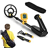 RM RICOMAX Kids Metal Detector - Junior Metal Detector with LCD Display IP68 Waterproof & 2 Lb Lightweight Best Gift for Kids 24 to 35'' Adjustable Metal Detector for Kids Best Toy for Boys, Yellow