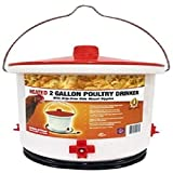 Farm Innovators HB-60P Heated Poultry Drinker with Drip-Free Side Mount Nipples, 2 Gal, Clear