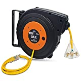 50-ft 14/3 SJTOW Cord Reel with Heavy Duty Lighted Triple Outlet by Watt's Wire - Yellow 50' 14-Gauge Grounded 13-Amp Retractable Reel with Mounting Kit (50 foot 14-Awg Cord Reel)