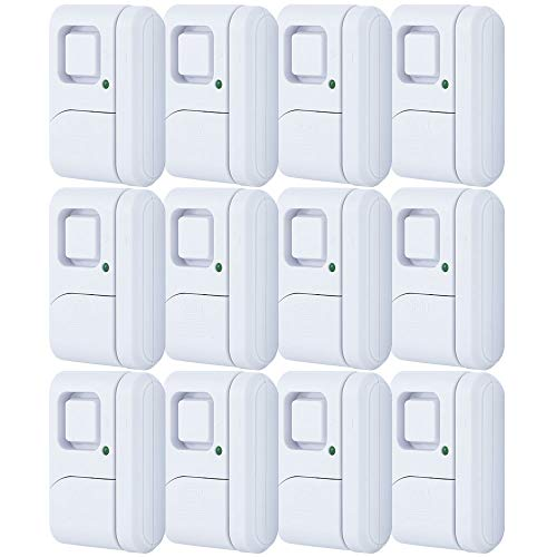 GE Personal Security Window/Door, 12-Pack, DIY Protection, Burglar Alert, Magnetic Sensor, Off/Chime/Alarm, Easy Installation, Ideal for Home, Garage, Apartment, Dorm, RV and Office, 45989, White