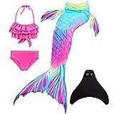 Wishliker Coda da Sirena Costumi da Bagno per Nuotare per Ragazze 4Pcs