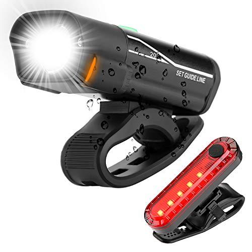 Aclouddate1 Fahrrar - Set di luci LED ricaricabili USB, luce anteriore e posteriore