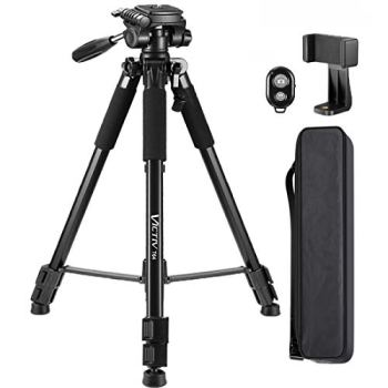 64-Inch Tripod, Camera Aluminum Tripod & Cell Phone Selfie Sticks with Phone Tripod Mount and Remote Shutter, Ideal for YouTube Videos and Instagram Facebook Live - Black