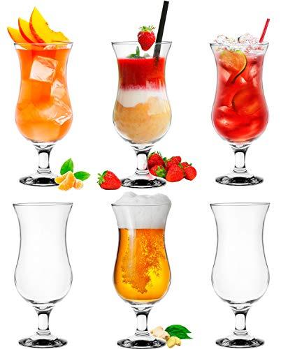 Platinux Bicchieri da cocktail 400ml (max. 470ml) in vetro Set (6 pezzi) Bicchieri Longdrink Bicchieri da festa Bicchieri Milkshake Grande