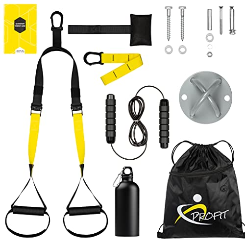 Profit Suspension Training Fitness Home - Suspension Trainer Straps Kit with Door Anchor, Wall Anchor with Screws, Jump Rope, Thermic Bottle.  Bodybuilding Home Gym Kit.
