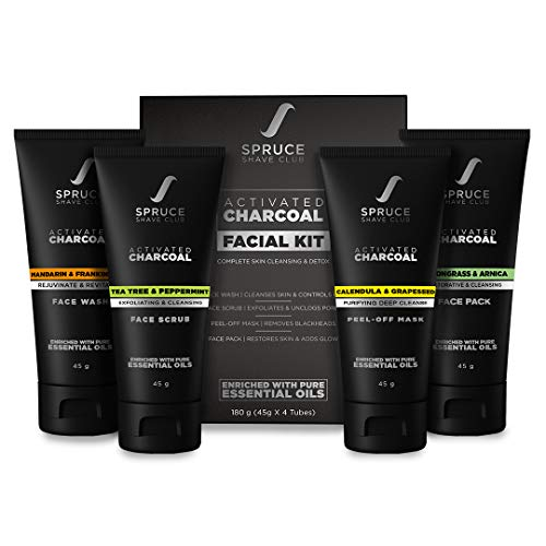 Spruce Shave Club Charcoal Facial Kit For Men | For Blackhead Removal, Deep Skin Cleansing & Oil Control | Face Wash, Face Scrub, Peel Off Mask, Face Pack | No Sulfates Or Parabens