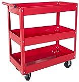 Torin Service Utility Cart Heavy Duty 3 Shelf Tier 400 LBs Rolling Trolley Storage Organizer for Garage Warehouse Workshop, APTC302B
