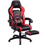 UMI Gaming Stuhl Bürostuhl Schreibtischstuhl mit Armlehne Drehstuhl Höhenverstellbarer Gaming Sessel PC Stuhl Ergonomisches Chefsessel mit Fußstützen Rot