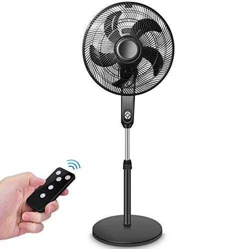 Pedestal Fan - Oscillating Fan with Timer Function, Powerful 4 Speed, 3 Modes, Remote Control, Large Standing Fan, Adjustable Height & Tilt, 2 in 1 Oscillating Pedestal Fan for Living Room, Bedroom, Patio