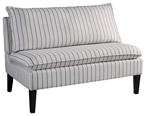 Signature Design by Ashley - Arrowrock Accent Settee Bench - Casual - White/Gray Stripes