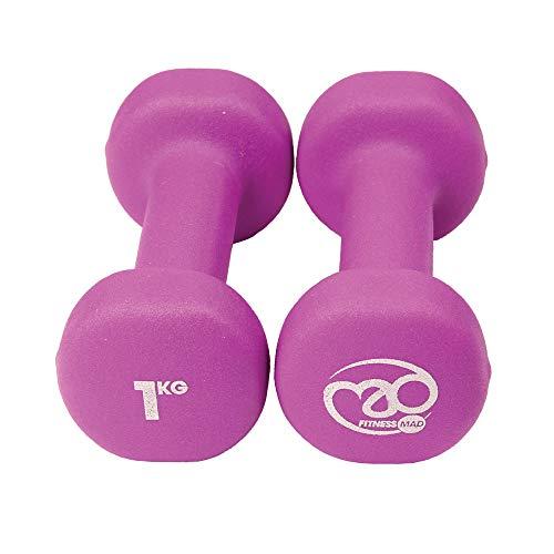 Fitness Mad Neo - Set de 2 Mancuernas / pesas de 1kg/u, color purpura