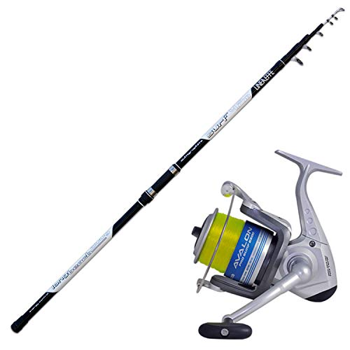 Trabucco Super Kit SURFCASTING Fondo Canna Long Cast 4.20 200 GR Avalon 6500 + Filo in Bobina XP Line