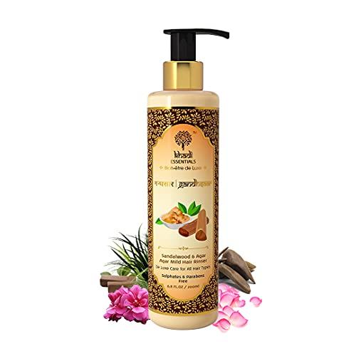 Khadi Essentials Sandalwood Rose Hair Shampoo with Geranium, Vetiver, Bhringraj Oil, For Hair Strengthening, Growth, 200ml SLS Paraben Free Cleanser