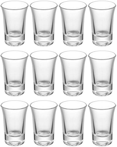 12 Bicchieri da shot Set di in vetro 4cl | Stabile - Lavabile in lavastoviglie | Bicchieri Pinn per Tequila Vodka