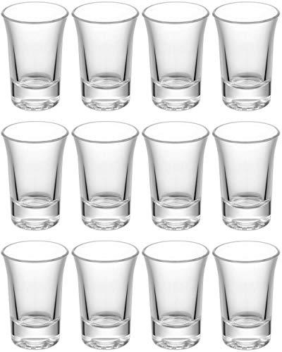 12 Bicchieri da shot Set di in vetro 4cl | Stabile - Lavabile in lavastoviglie | Bicchieri Pinn per...