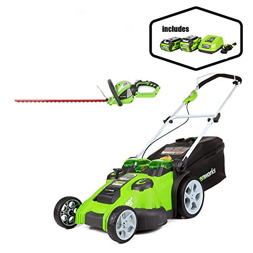 Greenworks 20-Inch 40V Twin Force Cordless Lawn Mower with 24-Inch 40V Cordless Hedge Trimmer with Rotating Handle Battery Not Included