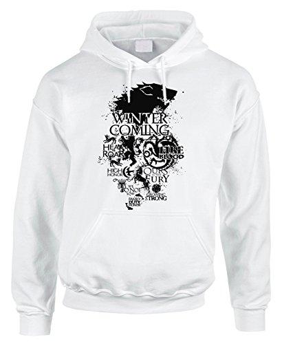 Fashwork. Sudadera de algodón con capucha y bolsillo grande de Juego de Tronos-Lannister Stark-Serie de televisión Bianco 5-6 años