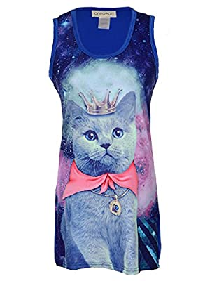 CUTE BIZARRE GALAXY CAT DESIGN. A perfect wardrobe addition for all cat loving fashionistas. This graphic print features an adorable kitty cat queen adorned with a magnificent crown and royal cloak against a backdrop of a nebula of stars. Some may fi...