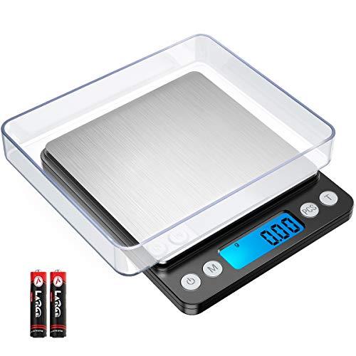 AMIR Bascula Cocina Digital, 500g/0.01g Balanza Comida con Pantalla LCD Retroiluminada, Función de Tara y PCS, Acero Inoxidable (Negro, Baterías Incluidas)