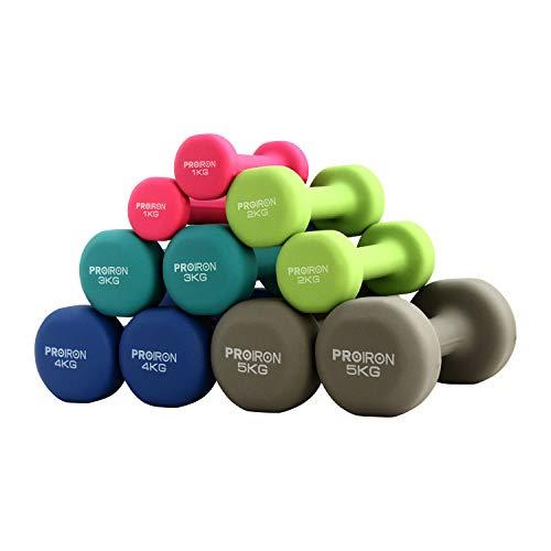 PROIRON Dumbbells of Neoprene -Dumbbells with Neoprene Coating 2 x 2 kg