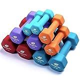 Fitness Alley Neoprene Dumbbell 5 Pairs 3LB, 5 LB, 8LB, 10LB, 12LB Dumbbells Coated for Non Slip Grip - Hex Dumbbells Weight Set - Neoprene Hand Weight Pairs - Hex Hand Weights Neoprene Dumbbells
