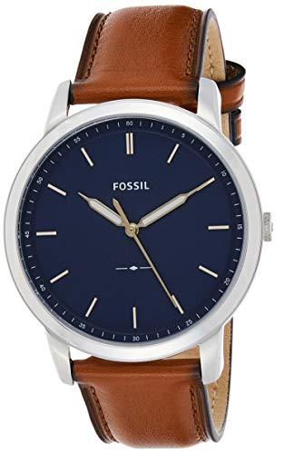 Fossil Men's Minimalist Quartz Leather Casual Watch Watch, Color:...