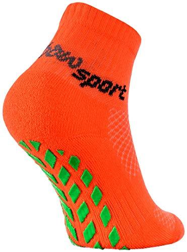 Rainbow Socks - Ragazza Ragazzo Neon Calze Sportive Antiscivolo - 1 paio - Arancione - Taglia 30-35