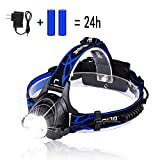 LED Rechargeable Headlamp, HUNLEE 1200 Lumen Head Lamp, 3 Modes Head Light with Zoomable Headlight Flashlight and Adjustable Headband, Waterproof Hard Hat Light Headlamps, Head Lamps for Adults Kids