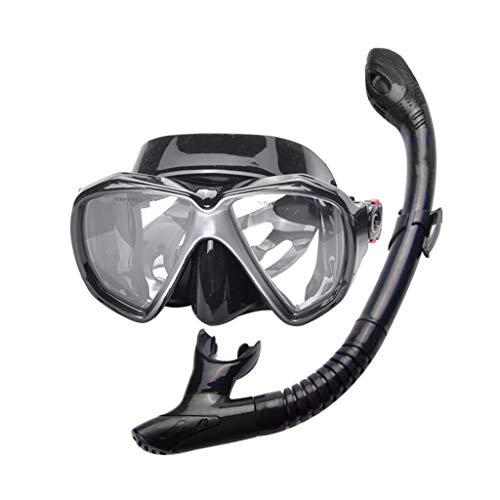 JS Occhiali per Snorkeling per Adulti, Occhiali Asciutti Set Attrezzatura per Snorkeling, Lenti Temperate Occhiali da Immersione Unisex