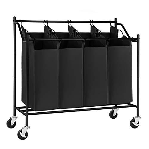 SONGMICS Rolling Laundry Cart Sorter Basket Hamper, with 4...