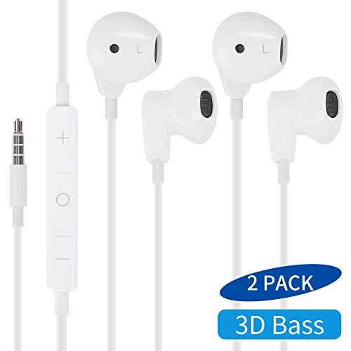 MASOMRUN Auriculares con Cable Sonido estéreo Auriculares intrauditivos con Auriculares de 3.5 mm Enchufe Micrófono Control de Volumen para Entrenamiento Deportivo Compatible con teléfonos celulares