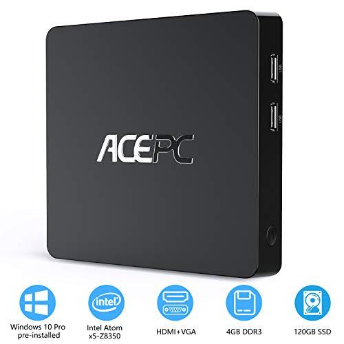 Mini PC 4GB RAM/ 64GB ROM/ 120GB SSD Windows 10 Professionel (64-Bit) Intel Atom Z8350 Prozessor,HD Graphik 400, 4K UHD, Dual WiFi, BT4.0, USB3.0, LAN 1000Mbps