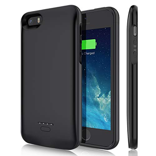 Battery Case for iPhone 5/5S/SE, YISHDA 4000mAh Rechargeable Extended Battery Charging Case Magnetic Charger Case Protective Backup Power Case Cover Compatible with iPhone 5/5S/SE - Black (Not Fit 5C)