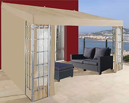 QUICK STAR Rank Anbau 3x4m Sand mit 3 Seitenteilen Anbaupavillon Terrassendach