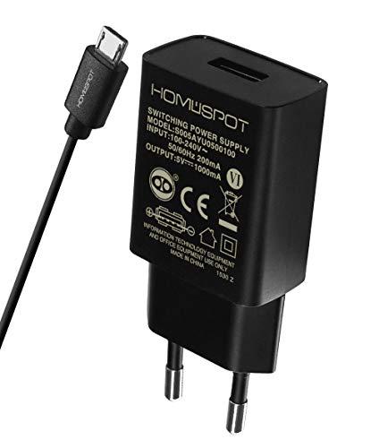HomeSpot Ladegerät + Micro USB Kabel Value Pack kompaktes Universal USB Ladegerät /Netzteil / 5V1A mit EU Stecker mit 2 Meter USB Micro USB Kabel