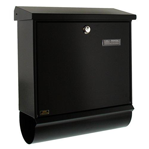 BURG-WÄCHTER, Briefkasten-Set mit integriertem Zeitungsfach, A4 Einwurf-Format, Verzinkter Stahl, Comfort-Set 91300 S, Schwarz