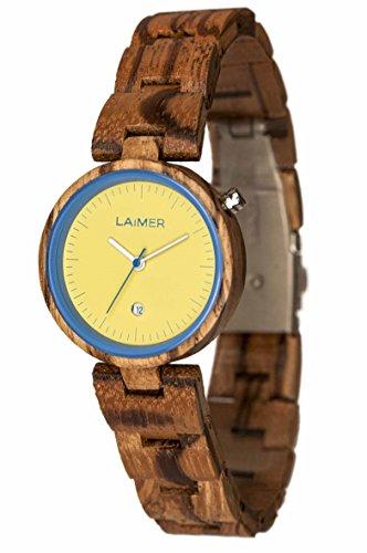 LAiMER Damen-Armbanduhr NICKY BLAU Mod. 0053 aus Zebranoholz - Analoge Quarzuhr mit strukturiertem Holzarmband