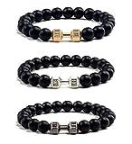 VANGOT 3Pcs Dumbbell Beaded Bracelets for Men Women Lava Black Matte Agate Stone Bracelet Set Elastic