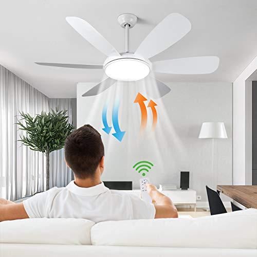 Albrillo Ventilatore da Soffitto con Lampada 91W Lampadario Ventilatore 132 cm 6 Pale con Telecomando, Super Silenzioso, 3 Temperatura di Colore e 6 Velocit del Vento, Timer e Funzione Inversione