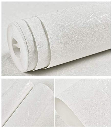 15.7' X 118' White Self Adhesive Wallpaper Embossed Solid Color...